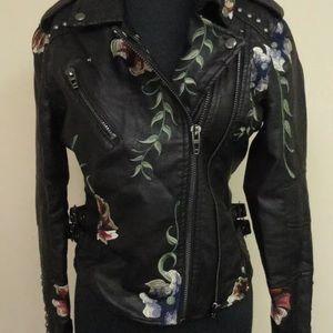 BLANKNYC Black Floral Moto faux leather Jacket